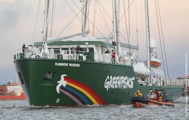 The Rainbow Warrior III, the newest ship of the enivornmental conservation organization Greenpeace