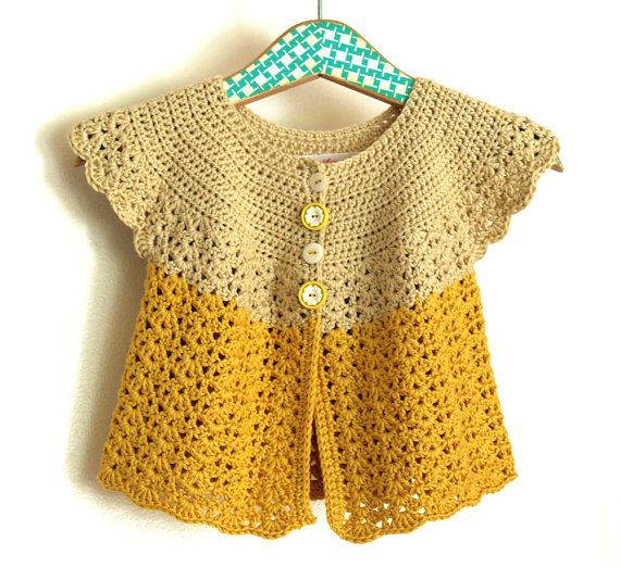 Crochet Girl Sweater  Swing Cardigan With Lacy Edging  Size