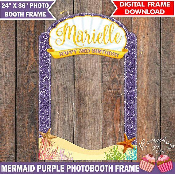 Mermaid Theme 24 x 36  Purple Happy Birthday Photo