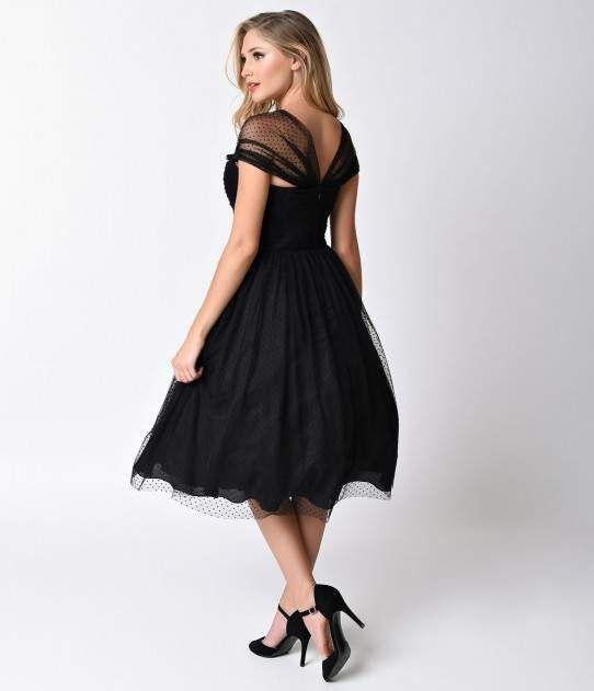 Unique Vintage Black Swiss Dot Garden State Mesh Dress