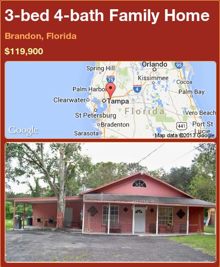 3-bed 4-bath Family Home in Brandon, Florida ►$119,900 #PropertyForSale #RealEstate #Florida http://florida-magic.com/properties/92953-family-home-for-sale-in-brandon-florida-with-3-bedroom-4-bathroom