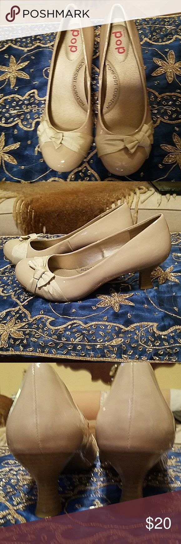 """POP Champaign pink 2"""" heels NWOT POP Champaign pink 2"""" heels NWOT, bows on toes, 10M. No scars, scuffs or scratches. POP Shoes Heels"""
