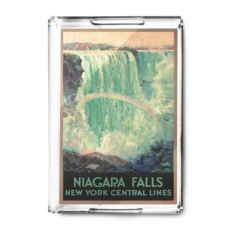 Niagara Falls NY Central Lines (Madan) Vintage Ad (Acrylic Serving Tray)