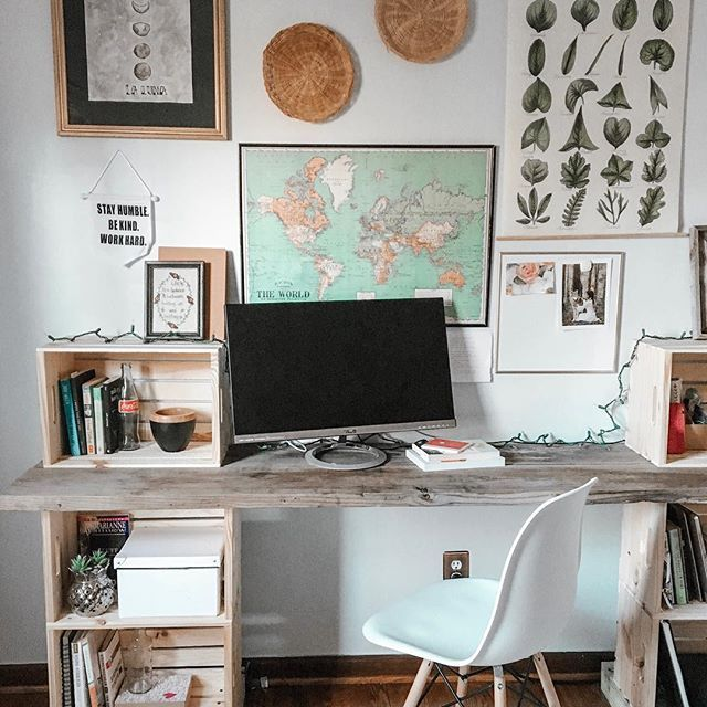 Boho Chic Eclectic Office Diy Wooden Reclaimed Crate Desk