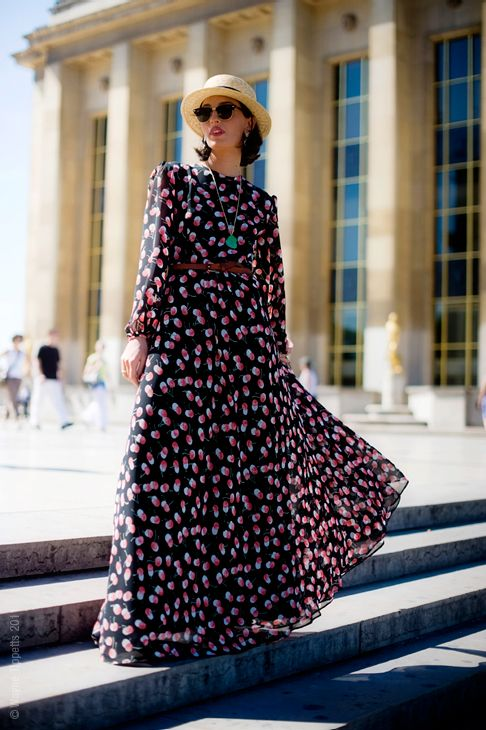 Long-sleeved maxi dress