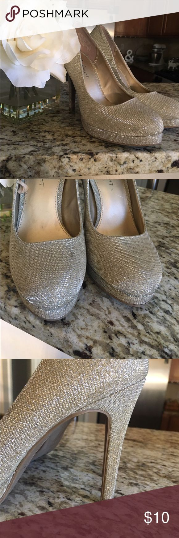 Glitter heels Champagne colored heels. Wore once for a wedding! Small stain on front of shoe FIONI Clothing Shoes Heels