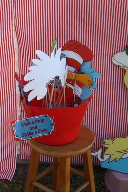 Grab a prop and strike a pose at a Dr Suess Birthday Party!  See more party ideas at CatchMyParty.com!  #partyideas #drseuss