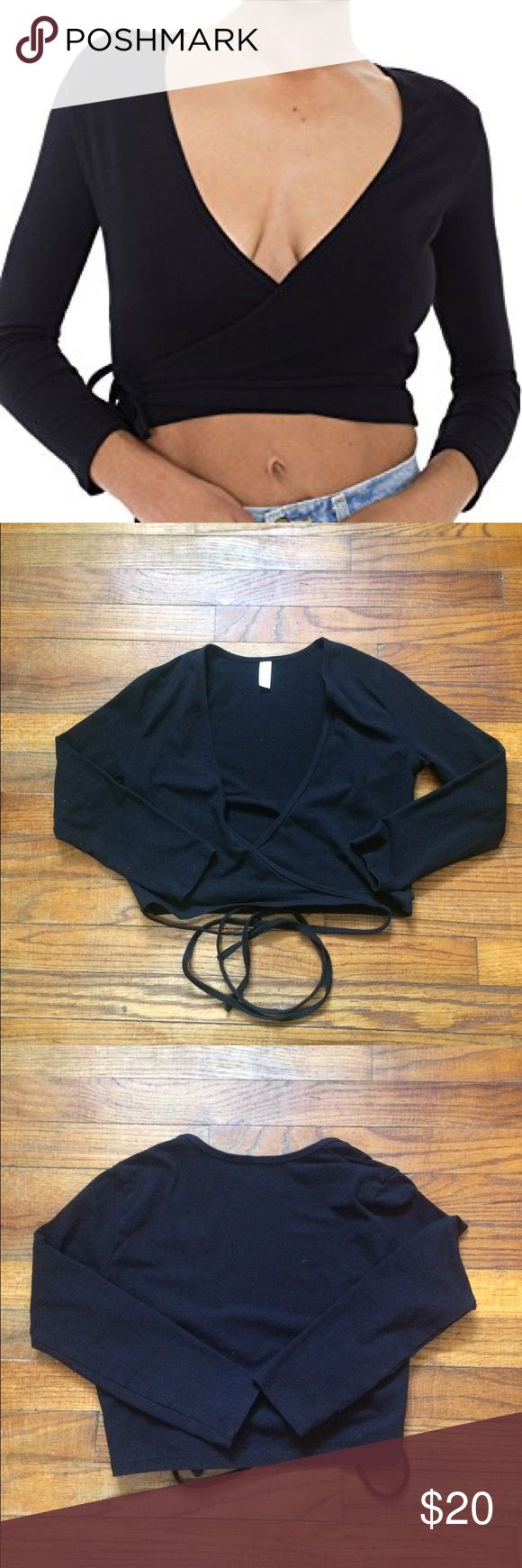 American Apparel Juilliard Wrap Top - Previously loved  - Size S  - No rips/stains/discoloration  - Reasonable offers considered  - No trades - No reserves American Apparel Tops Crop Tops