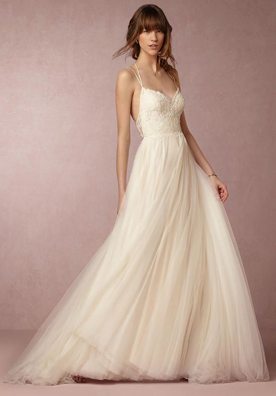 BHLDN gown with a-line silhouette, sweetheart neckline, spaghetti straps, tulle skirt, and lace bodice I Style: Rosalind Gown I https://www.theknot.com/fashion/rosalind-gown-bhldn-wedding-dress?utm_source=pinterest.com&utm_medium=social&utm_content=june2016&utm_campaign=beauty-fashion&utm_simplereach=?sr_share=pinterest