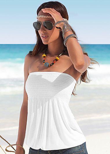 White bandeau top, sizes XS, S, M, L