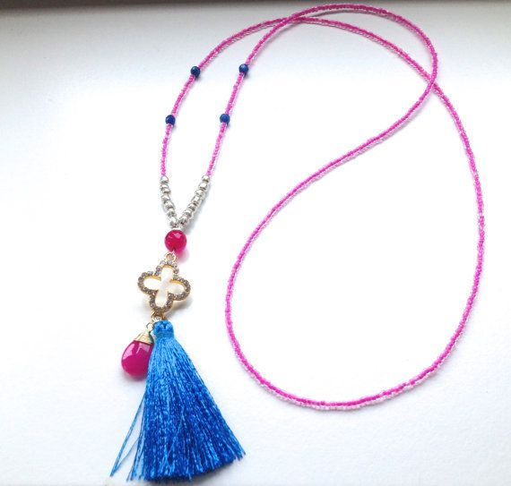 Pink Seed Bead Tassel Necklace  Bright Necklace  by Annyse on Etsy