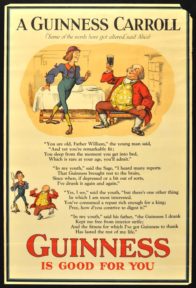 """20"""" x 30"""". Circa 1932. Advertisement poster for Guinness featuring artwork by noted British artist John Gilroy, whose work is particularly associated with the Guinness brand. This design was used for the London Underground subway and adopts the young man and Father William from the poem in Lewis Carroll's Alice books. Printed in London by Dangerfield Printing Co. Ltd."""