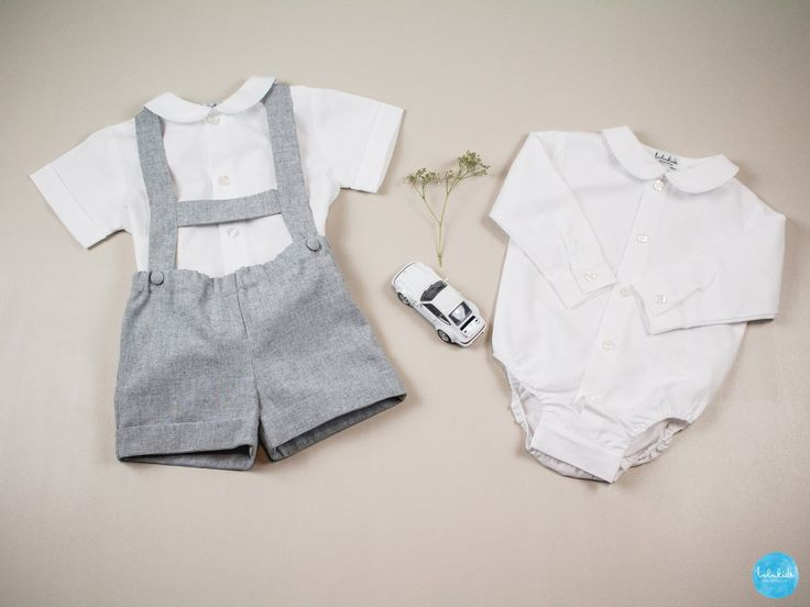 2pcs outfit shorts with suspenders bodysuit with peter pan collar