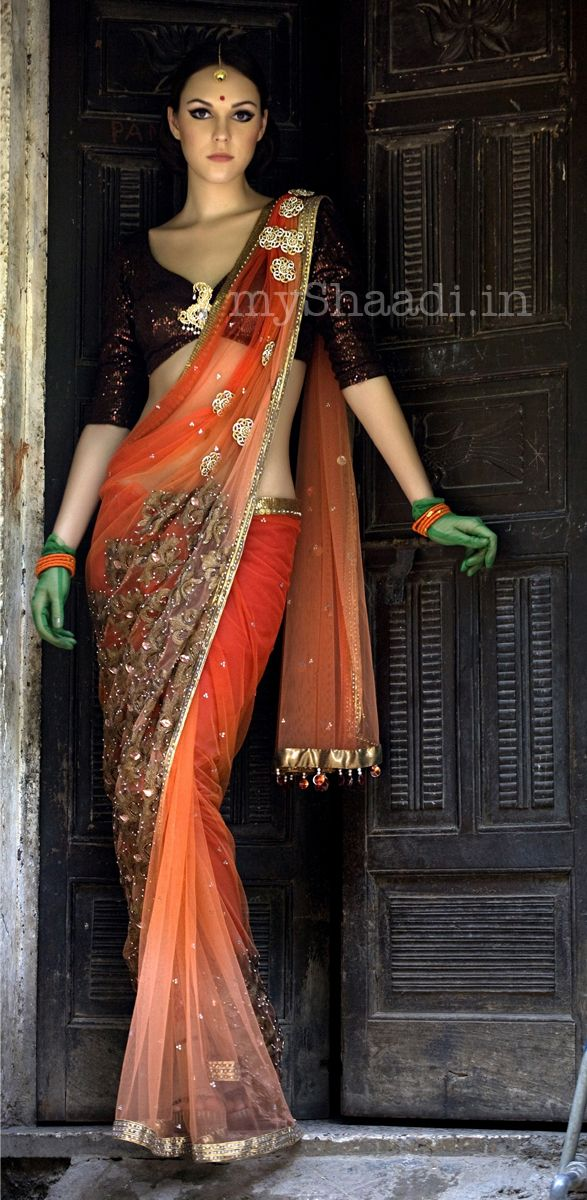 Beautiful #Desi Wedding #Saree by Niharika Pandey .....loving the contrast. Beautiful blouse rounds it all off