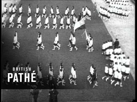 """Item title reads: """" 3,000 Chilean Girl Athletes. Celebrate National Festival Day with skillful display of massed drill."""" Santiago, Chile L/S of marching line..."""