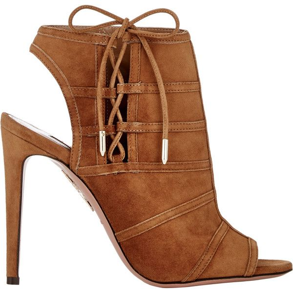 Aquazzura Oui Baby Ankle Booties (5.365 DKK) ❤ liked on Polyvore featuring shoes, boots, ankle booties, heels, brown, open toe booties, brown boots, brown suede boots, brown suede booties and lace up booties