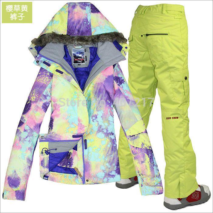 2014 горячая женщин лыжный костюм дамы сноуборд костюм фиолетовый и желтый пиджак + желтые штаны снег одежда для лыжников водонепроницаемый 10 К XS-L