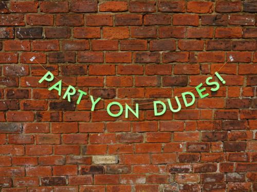 Be excellent to each other and…party on, dudes!  Handmade latter banners and paper party decorations by Paper Street Dolls
