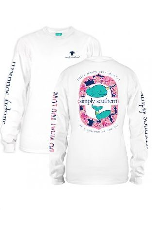 """Simply Southern Long Sleeve """"Narwhal"""" Tee - White from Chocolate Shoe Boutique"""