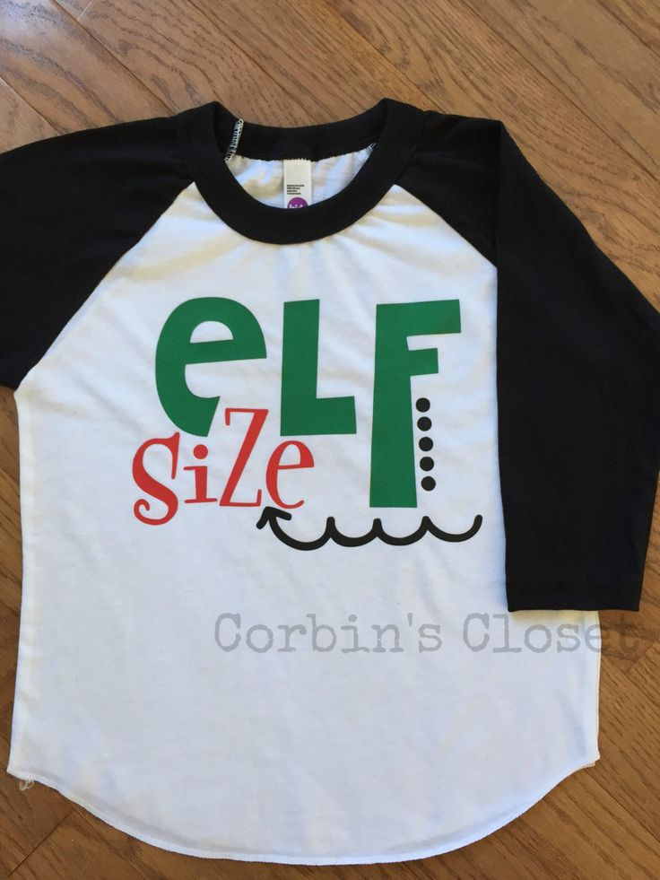 Elf Size * Christmas Raglan Shirt * Toddler & Youth * Holiday Shirt ...