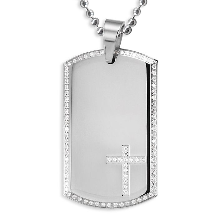 Stainless Steel Dog Tag with Pave Set CZ Bezel and CZ Cross on a 24 Inch Chain This unique dog tag features a stylish CZ border and a stunning cross. Pendant is complemented by a 24 inch chain.Price: $69.95Read More and Buy it here! http://ponderosa.co/szul/stainless-steel-dog-tag-with-pave-set-cz-bezel-and-cz-cross-on-a-24-inch-chain-3/