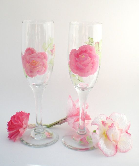 Hand Painted Pair of Shabby Pink Roses wine by RosemarysHomestead