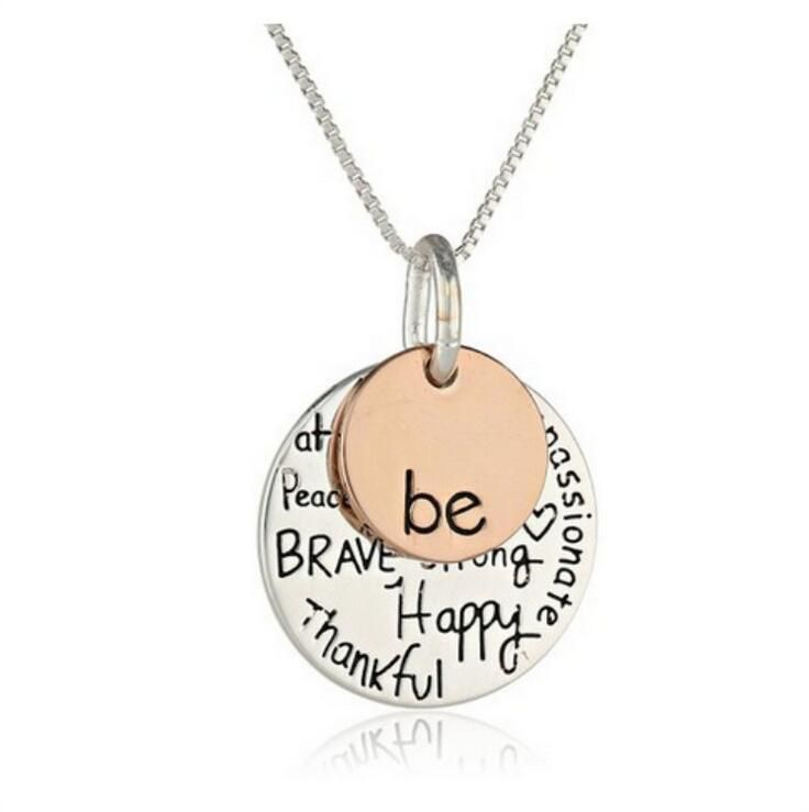 "Two-Tone ""Be"" Graffiti Initial Charm Necklace Silver Rose Gold Pendant Inspirational Necklace Gift For Girl"