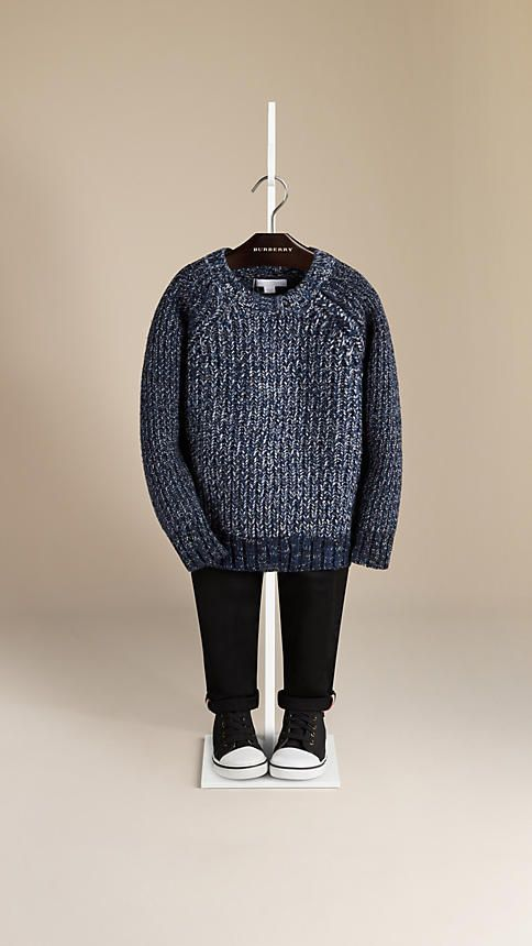 Burberry Fisherman Rib Mouline Wool Cashmere Sweater