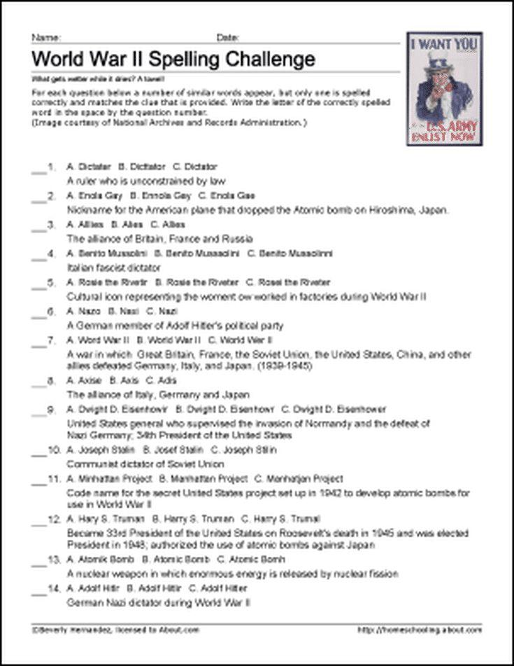8 Best History Worksheets Images On Pinterest English