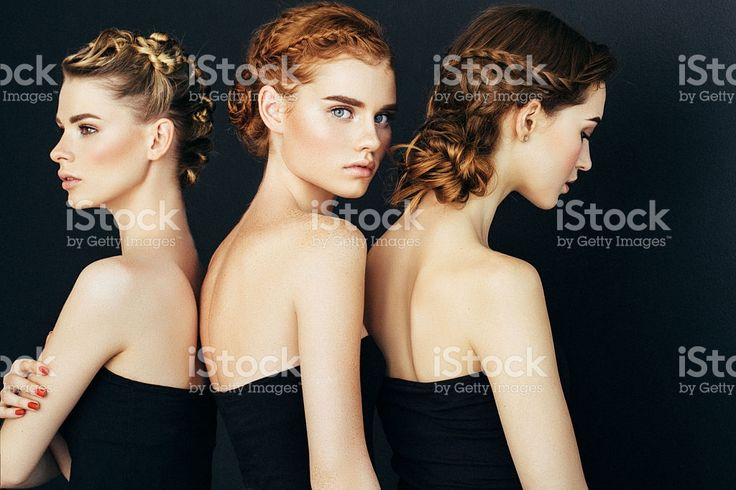 Three beautiful girls with a natural make-up royalty-free stock photo