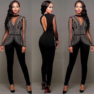 Women Ladies Clubwear Backless Playsuit Bodycon Party Jumpsuit Romper Trousers in Clothing, Shoes & Accessories, Women's Clothing, Jumpsuits & Rompers | eBay