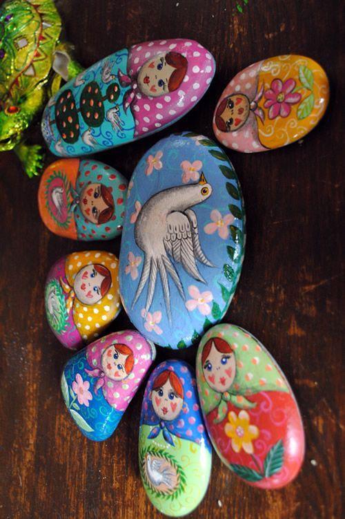 painted stones matrushka