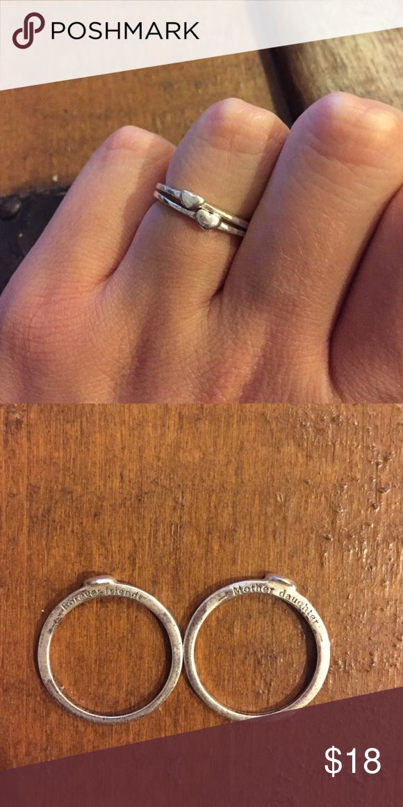 Mother daughter rings Mother daughter forever together sterling silver ring set. Stackable. Perfect condition. Size 9. Some tarnish from storing but easily cleanable. Jewelry Rings
