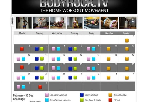 30 Day Fitness Challenge! :: BodyRock.tv :: Everything is laid out for you! Just follow along with the schedule of workout videos that will be posted each day of the challenge.