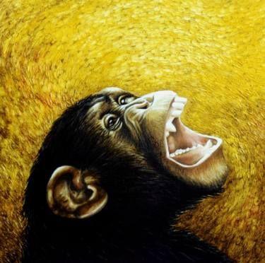 "Saatchi Art Artist Dan Civa; Painting, ""Chimpanzee portrait (chimp 1)"" #art"
