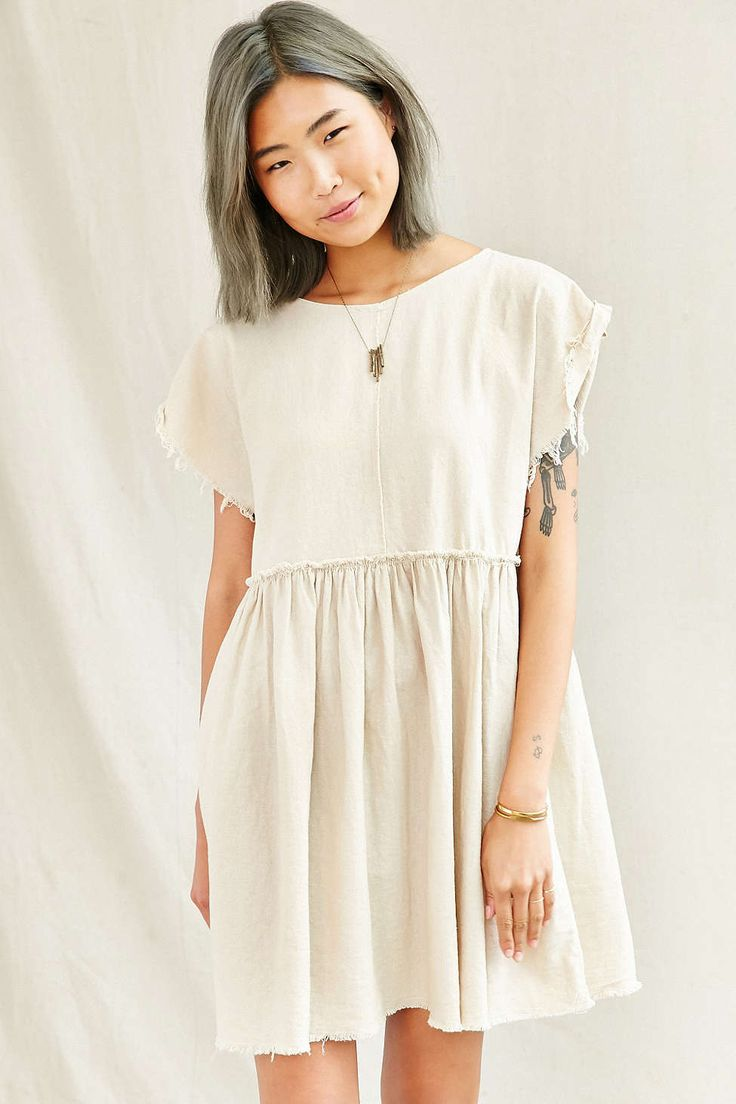 """Urban Renewal Remade Raw Edge Linen Babydoll Dress"" #ColorfulHair #GrayHair #UrbanOutfitters"