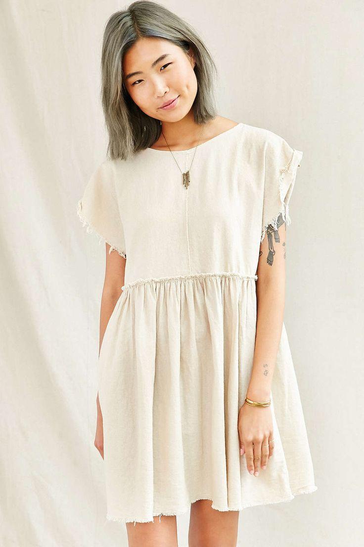 """Urban Renewal Remade Raw Edge Linen Babydoll Dress"" #ColorfulHair #GrayHair #UrbanOutfitters"