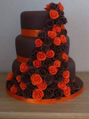 chocolate brown and burnt orange wedding cakes orange and brown wedding tier stacked chocolate 12688