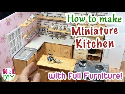 DIY Miniature Kitchen Room for Dollhouse   How to make a Miniature Kitchen with full Furniture ! - YouTube