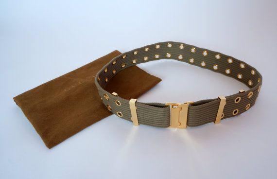 Hello Im glad youre here VINTAGE PANDORA  I offer vintage GUCCI belt cotton material + metal buckle,metal elements color:military green/gold