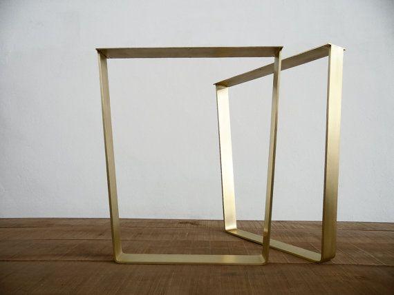 Superb 28 Trapezoid Flat Brass Metal Table Legs 24 Base By Balasagun Photo