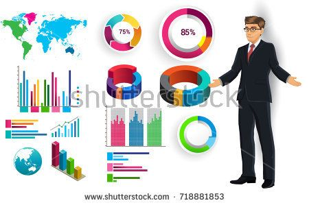 Business infographic elements vector set, businessman and other elements for infographic. Template for diagram, graph, presentation and chart. Business concept with parts, steps or processes.