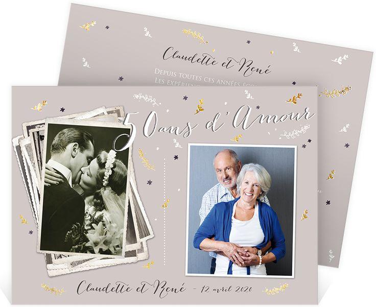 Invitation anniversaire de mariage pour fêter ensemble vos 50 ans d'union, ref N14161
