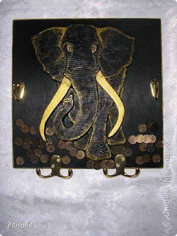 Картина панно рисунок Мастер-класс Аппликация Ключница СЛОН Картон Клей фото 13