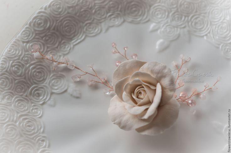 """Купить Заколка для волос """"Нежная роза"""" - бежевый, роза айвори, розы, заколка невесте"""