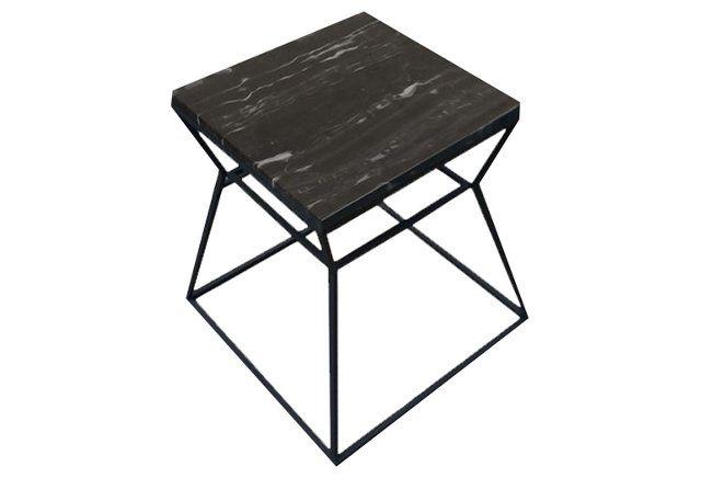 Geo Side Table, Black/Black Marble