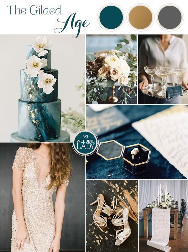 The Gilded Age - A Dark Romance Wedding in Teal, Charcoal Gray, and Elegant Gold Leaf - http://heyweddinglady.com/gilded-age-dark-romance-wedding/