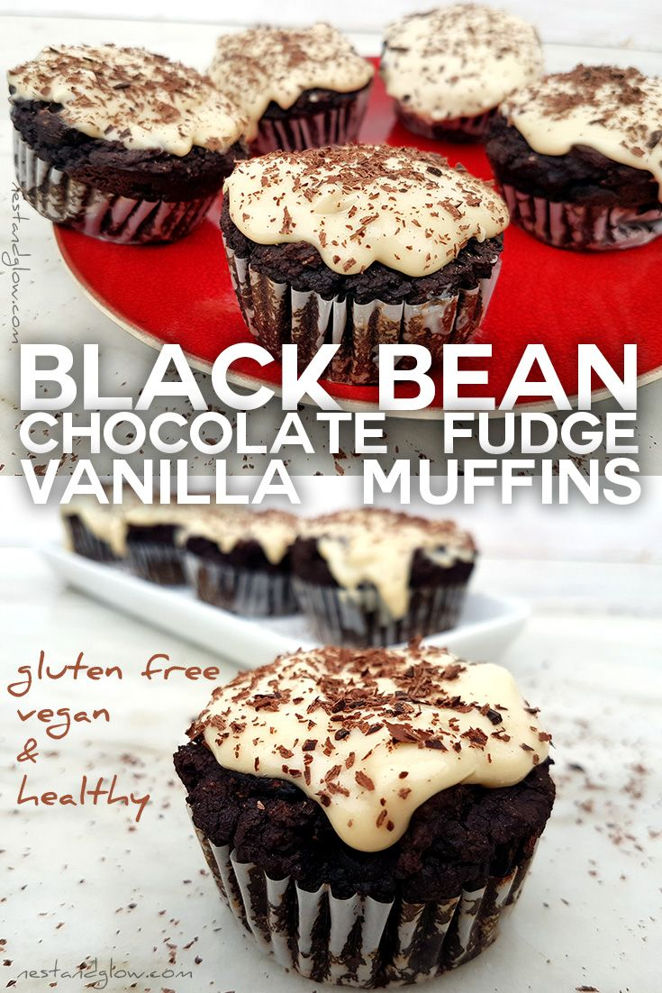 These healthy Black Bean Chocolate Fudge Muffins with Vanilla Frosting have no flour, eggs or butter and are vegan and plant based. via @nestandglow