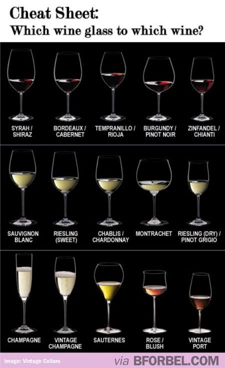 A Cheat Sheet: Which wine glass for which wine?