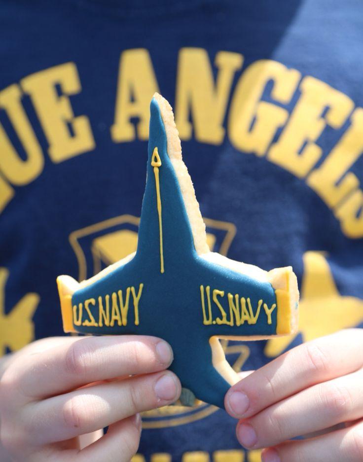 US Navy Blue Angels decorated sugar cookie.